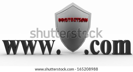 Shield between www and dot com. Conception of protecting from unknown web- pages. 3d illustration on white background. - stock photo