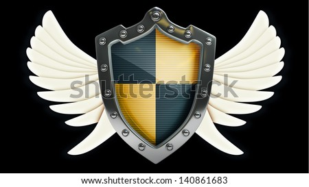 Shield depicting protection with wings isolated on black background High resolution 3D