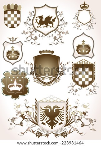 shield design set with various shapes and decoration - stock photo