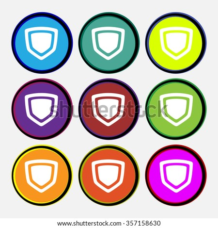 shield icon sign. Nine multi-colored round buttons. illustration