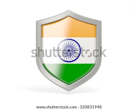 Shield icon with flag of india isolated on white