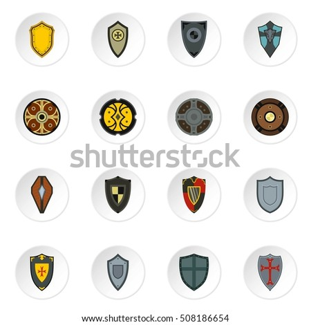 Shield icons set. Flat illustration of 16 shield  icons for web