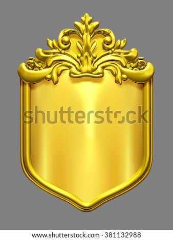 Shield in gold with ornamental elements for the creation of a heraldic sign or coat of arms - stock photo