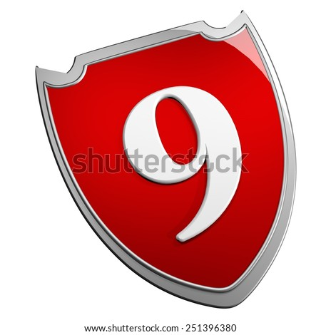 Shield 9, isolated over white, 3d render - stock photo
