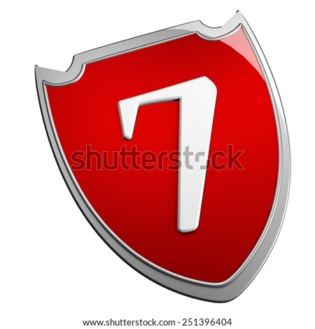 Shield 7, isolated over white, 3d render - stock photo