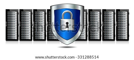 Shield Lock Servers with Shield Protection - Raster Version - stock photo