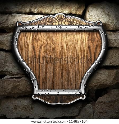 shield on tha wall - stock photo