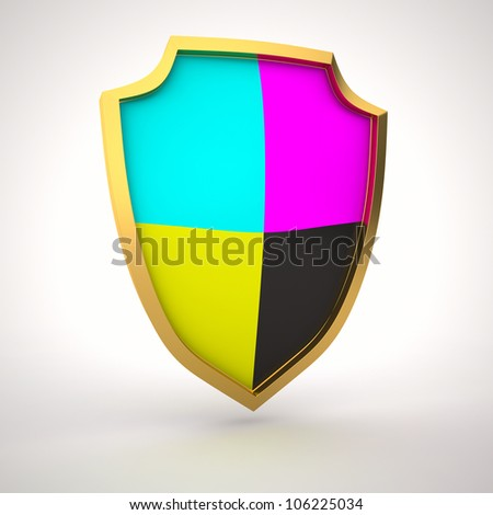 Shield painted with cmyk colors - stock photo
