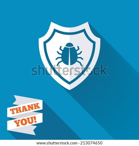 Shield sign icon. Virus protection symbol. Bug symbol. White flat icon with long shadow. Paper ribbon label with Thank you text.