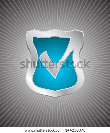 shield with check mark - stock photo