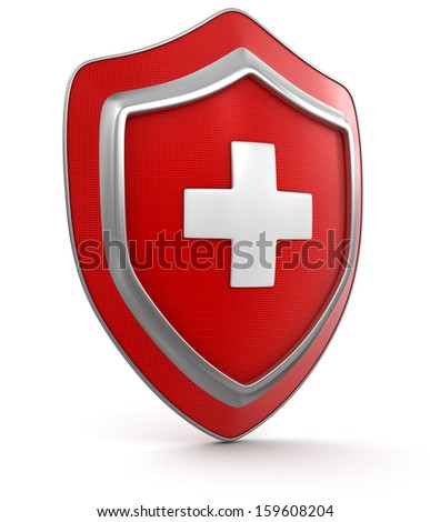 Shield with cross (clipping path included) - stock photo