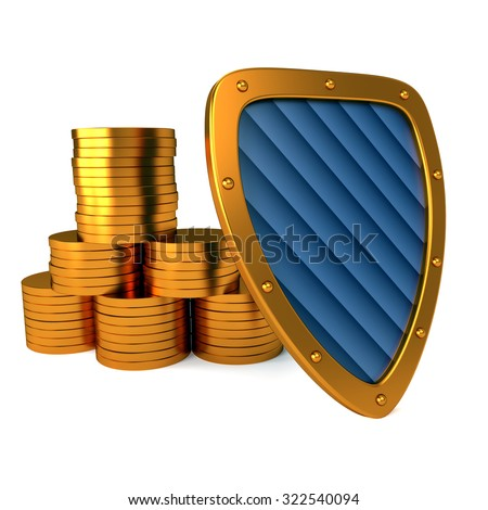 shield with dollar sign, excellent 3d illustration - stock photo