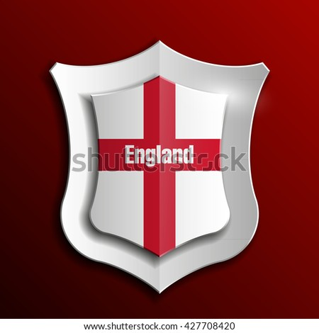 Shield with flag of England Protect icon badge banner  - stock photo