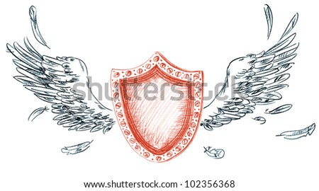 Shield with wings. Hand-drawn - stock photo