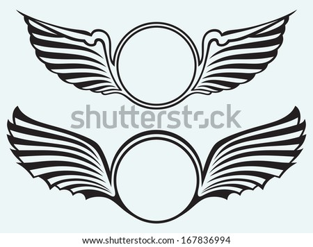 Shield with wings isolated on blue batskground. Raster version - stock photo