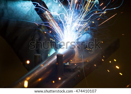 Shielded welding consumable electrode.