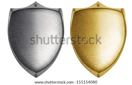 shields made from bronze and steel metal - stock photo