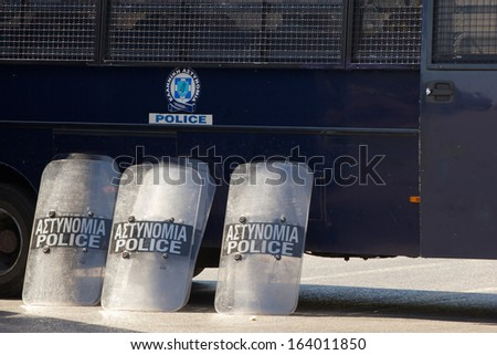 Shields of the Greek riot police during demonstration near Parliament building, Athens - stock photo