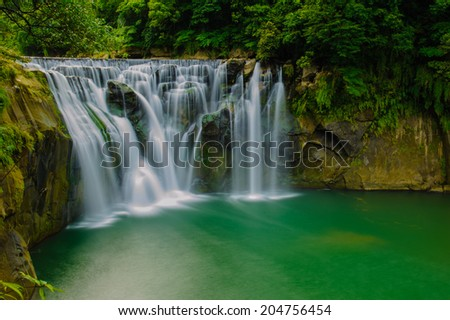 shifen waterfall in pingxi, Taipei, Taiwan - stock photo