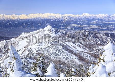 Shiga Kogen resort in winter, Nagano, Japan - stock photo