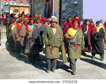 Shigatse Tibet China November 16: pilgrims exiting from Tashilhumpo monastery after the priers November 16  2004. Tashilhumpo founded in 1447 is one of the six great Gelukpa monastery in Tibet