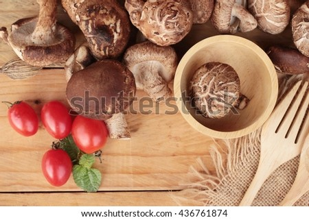 Shiitake mushrooms for cooking  - stock photo