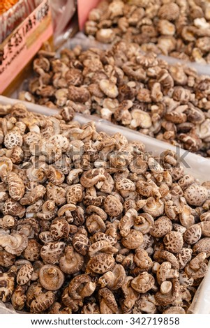 Shiitake Mushrooms for sale in bins at a sidewalk market in Chinatown, New York City. Focus on front bin with soft focus on bins in the background. - stock photo