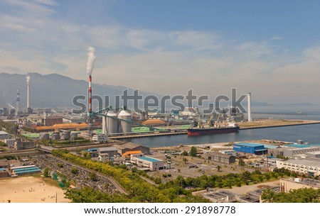 SHIKOKUCHUO, JAPAN - MAY 22, 2015: View of Paper Factory (circa 1954) of Marusumi Paper Company in Shikokuchuo city, Shikoku Island, Japan. Shikokuchuo is the leading producer of paper in Japan