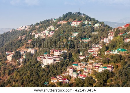Shimla aerial view, it is the capital city of the Indian state of Himachal Pradesh, located in northern India. - stock photo