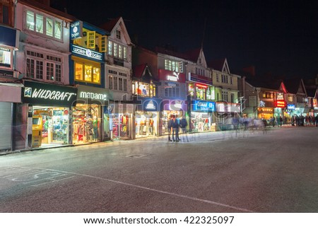 SHIMLA, INDIA - NOVEMBER 06, 2015: Mall Road is the main street in Shimla, the capital city of Himachal Pradesh, India.