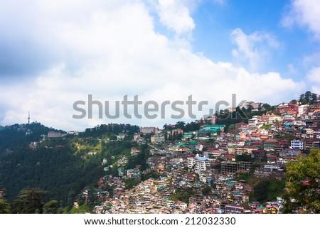 Shimla town panorama in India  - stock photo