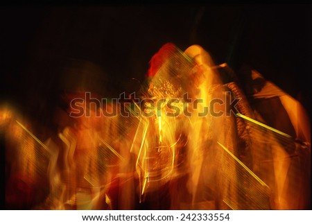 Shimmering blur background with shining lights, light spot - stock photo