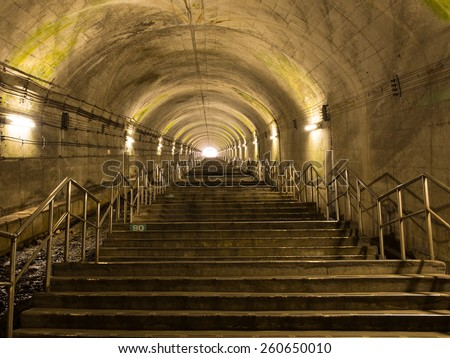 Shin-Shimizu Tunnel (70 meters under ground) for subway train in Gunma Prefecture, Japan - stock photo