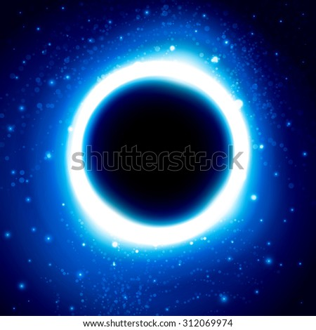 Shine cosmic wallpaper design with blue glowing circle and glitters on starry space background with black hole in center