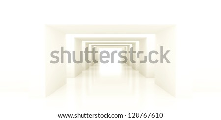 shined corridor with columns and light making the way ahead - stock photo