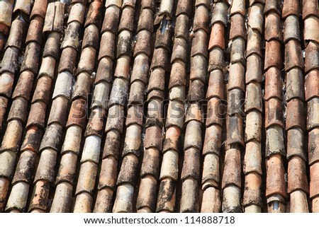 shingles on the roof of an Indian home - stock photo