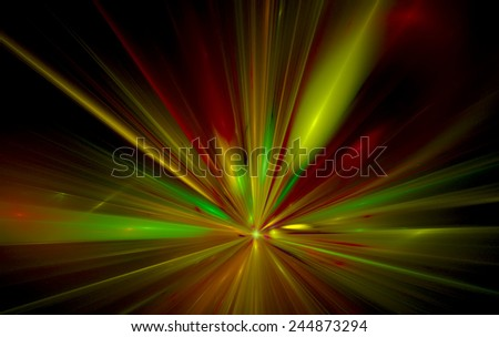 Shining a fantastic radial blast yellow tint. Fractal art graphics