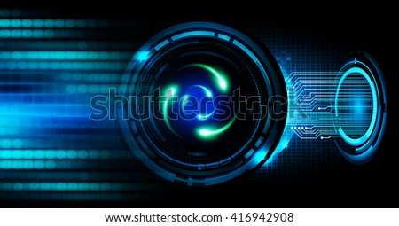 Shining atom scheme.illustration. dark blue background. digital. infographics. Abstract Technology background for computer graphic website internet and business. circuit. - stock photo