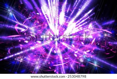 Shining  big fantastic  radial  blast purple  tint. Fractal art graphics - stock photo