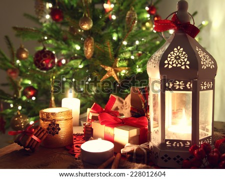 shining candles with christmas decorations - stock photo