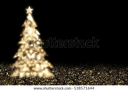 Shining Christmas golden  tree with star and circle bokeh or glitter lights.Gold festive background
