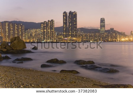Shining city, Lei Yue Mun, Hong Kong - stock photo