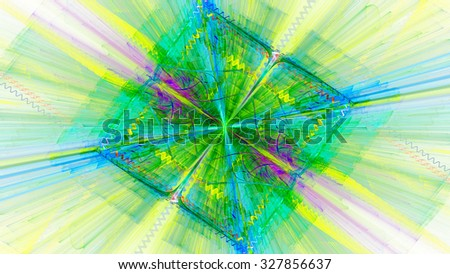 Shining diamond in the shape of cube. Refraction light through glass. Abstract. Fractal Wallpaper on your desktop. Widescreen. Digital artwork for creative graphic design. Light background.