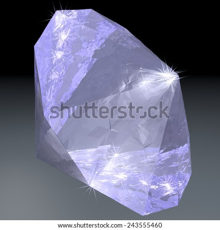 Shining diamond over gray background, 3d render - stock photo