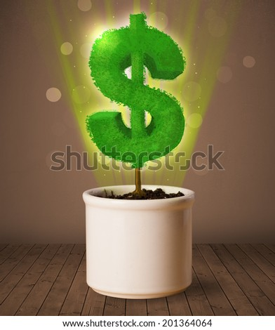 Shining dollar sign tree coming out of flowerpot - stock photo