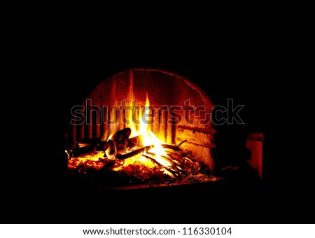 Shining dry burning wood in the fireplace - stock photo