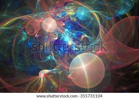 Shining galaxy. Abstract fantasy figures on black background. Computer-generated fractal in rose, yellow and blue colors. - stock photo