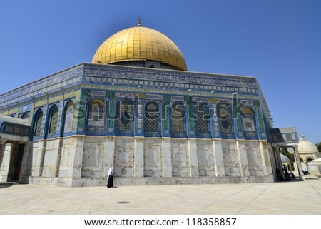 Shining gold dome of mosque temple in Jerusalem.