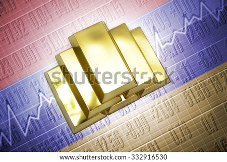 Shining golden bullions lie on a armenian flag background