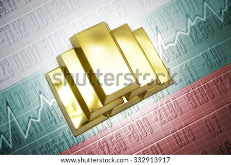 Shining golden bullions lie on a bulgarian flag background